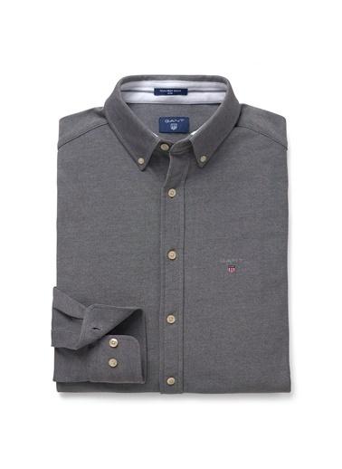 Gant Düz Slim Gömlek Gri